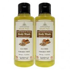 Khadi Pure Herbal Sandal & Turmeric Body Wash SLS-Paraben Free - 210ml (Set of 2)