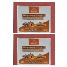 Khadi Pure Herbal Woody Sandal & Honey Soap with Sheabutter - 125g (Set of 2)