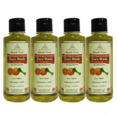 Khadi Pure Herbal Orange & Lemongrass Face Wash SLS-Paraben Free - 210ml (Set of 4)