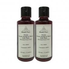 Khadi Pure Herbal Woody Sandal & Honey Body Wash SLS-Paraben Free - 210ml (Set of 2)