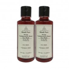 Khadi Pure Herbal Sandalwood & Honey Face Wash SLS-Paraben Free - 210ml (Set of 2)