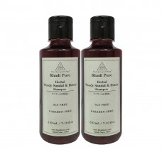 Khadi Pure Herbal Woody Sandal & Honey Shampoo SLS-Paraben Free - 210ml (Set of 2)