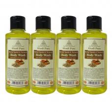 Khadi Pure Herbal Sandal & Turmeric Body Wash - 210ml (Set of 4)