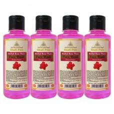 Khadi Pure Herbal Rose Water Face Wash - 210ml (Set of 4)